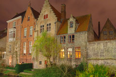 Bruges. Old house on the canal at night Royalty Free Stock Photography