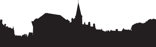 Bruges old town skyline monochrome silhouette Royalty Free Stock Photos