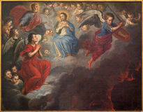 Bruges - The paint of Virgin Mary in the heaven and st. Michael by unknown painter of 17. cent. in st. Jacobs church Royalty Free Stock Photos