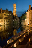Bruges par nuit image libre de droits