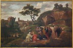 Bruges - peinture de scène Jésus et disciples par D Nolet 1645) dans l'église de St Jacobs (Jakobskerk) photographie stock libre de droits