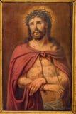 Bruges - peu de peinture de Jesus Christ dans le lien par le peintre inconnu dans la boîte de confession à St Giles Image libre de droits