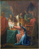Bruges -  The Presentation of Jesus in the Temple paint by Jan van den Kerckhove 1707 in st. Jocobs church (Jakobskerk) Royalty Free Stock Photo