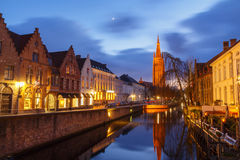 Bruges. Quay of the Dijver. Royalty Free Stock Photos
