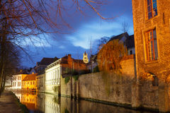 Bruges. Quay of the Dijver. Stock Images