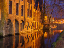 Bruges. Quay of the Dijver. Royalty Free Stock Photography