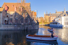 Bruges. Quay of the rosary. Royalty Free Stock Photography