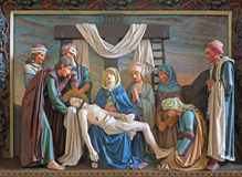 Bruges - Relief of Deposition of the cross in st. Giles (Sint Gilliskerk) as part of the Passion of Christ cycle. Stock Images