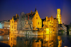 Bruges Rozenhoedkaai. Canal in Bruges with the famous Belfry in the background, Belgium Royalty Free Stock Photos
