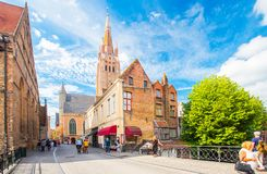 Bruges sightseeing. Sunny Brugge cityscape with clear blue sky royalty free stock photo