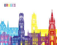 Bruges skyline pop Royalty Free Stock Photo