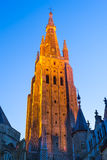 Bruges, spire of Church Our Lady, Flanders Royalty Free Stock Photos