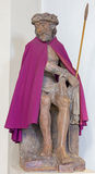 Bruges - The statue of Jesus in the bond and purple coat in Saint Walburga church. Royalty Free Stock Photos