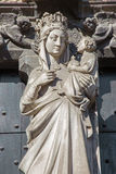 Bruges - Statue of Madonna on the portal of church Our Lady. Stock Images
