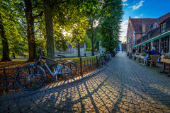 Bruges at sunset. Bruges is is the capital and largest city of the province of West Flanders in the Flemish Region of Belgium, in the northwest of the country Stock Photography