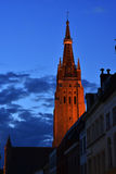 Bruges sunset tower Royalty Free Stock Images