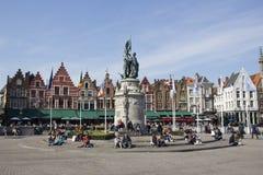 Bruges Targowy kwadrat zdjęcia stock