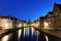 Bruges town at night Stock Image