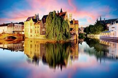 Bruges - Traditional city canals in the historical medieval. Bel Royalty Free Stock Images