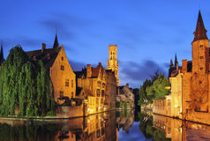Bruges at twilight Stock Photos