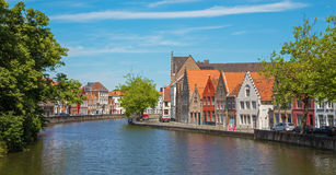 Bruges - Typically house over the canal from Sint Annarei street. Stock Images