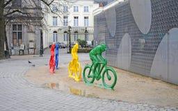 Tävlings- cyklister för polyester i Bruges Royaltyfria Bilder