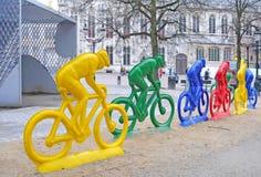 Tävlings- cyklister för polyester i Bruges Fotografering för Bildbyråer