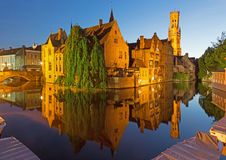Bruges - View from the Rozenhoedkaai in Brugge with the Perez de Malvenda house and Belfort van Brugge in the background Royalty Free Stock Photo