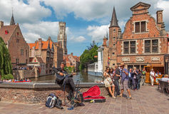 Bruges - View from the Rozenhoedkaai in Brugge wit Royalty Free Stock Image