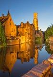 Bruges - vista do Rozenhoedkaai Imagens de Stock
