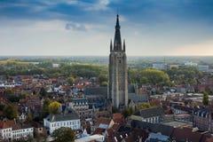 Bruges vu de la tour de beffroi photographie stock