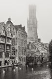 Bruges water canal and Belfry tower in monochrome Royalty Free Stock Photography