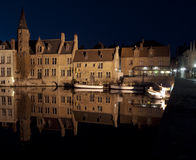 Bruges Waterfront At Night Stock Image