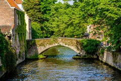 Bruges & x28;Brugge& x29; cityscape with water canal and bridge Stock Photos
