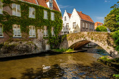 Bruges & x28;Brugge& x29; cityscape with water canal and bridge Royalty Free Stock Photo