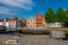 Bruges & x28;Brugge& x29; cityscape with water canal and bridge Royalty Free Stock Image