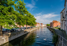 Bruges & x28;Brugge& x29; cityscape with water canal Royalty Free Stock Photos