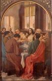 BRUGGE, БЕЛЬГИЯ - 13-ОЕ ИЮНЯ 2014: Тайная вечеря Христоса Van Heary (1865) в St Giles Стоковое Изображение RF