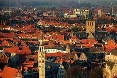 Brugge. View down from the tower in Brugge Royalty Free Stock Images
