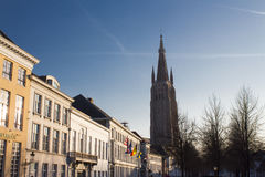 Brugge architecture. The main tower in Brugge, Belgium can be seen from everywhere in the small town Stock Photo