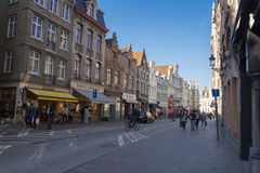Brugge architecture. The most crowded street in Brugge. It is also the shopping place royalty free stock photography