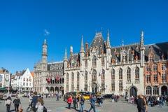 BRUGGE, BELGIË EUROPA - 25 SEPTEMBER: Stadhuis in Markt Squ Royalty-vrije Stock Afbeelding