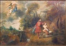 BRUGGE, BELGIË - JUNI 12, 2014: Abraham en Isaac tegen Januari van DE Kerkhove (1822-1881) in sint-Salvatorskathedraal stock afbeelding