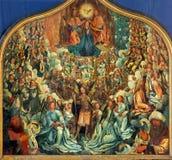 BRUGGE, BELGIË - JUNI 12, 2014: De Kroning van Virgin door Albert Cornelis (1517 - 1522) in st Jacobs kerk stock foto
