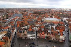 Brugge Belgia cityscape panorama zdjęcie royalty free