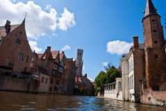 Brugge, Belgium. Medieval house on the canals of Bruges Stock Image