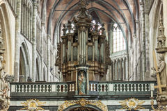BRUGGE, BELGIUM - APRIL 22: Old organ in interior of Our Lady Ch Royalty Free Stock Photos