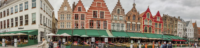 BRUGGE, BELGIUM - APRIL 22:Panoramic view on market place (Grote Stock Photos
