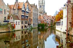 Brugge/Belgium - Autumn. Old town buildings on the canal. Beauti stock photos