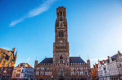 BRUGGE, BELGIUM - JANUARY 17, 2016: Belfort tower in Bruges, touristic center in Flanders city of Brugge and UNESCO world heritage Stock Photo